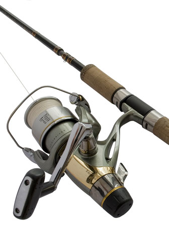 fishing reel and rod - isolated on a white background
